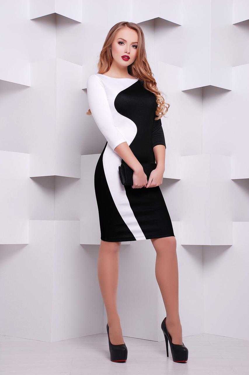 Платье женское черно-белое до колен с длинным рукавом деловое