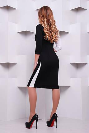 Платье женское черно-белое до колен с длинным рукавом деловое, фото 2