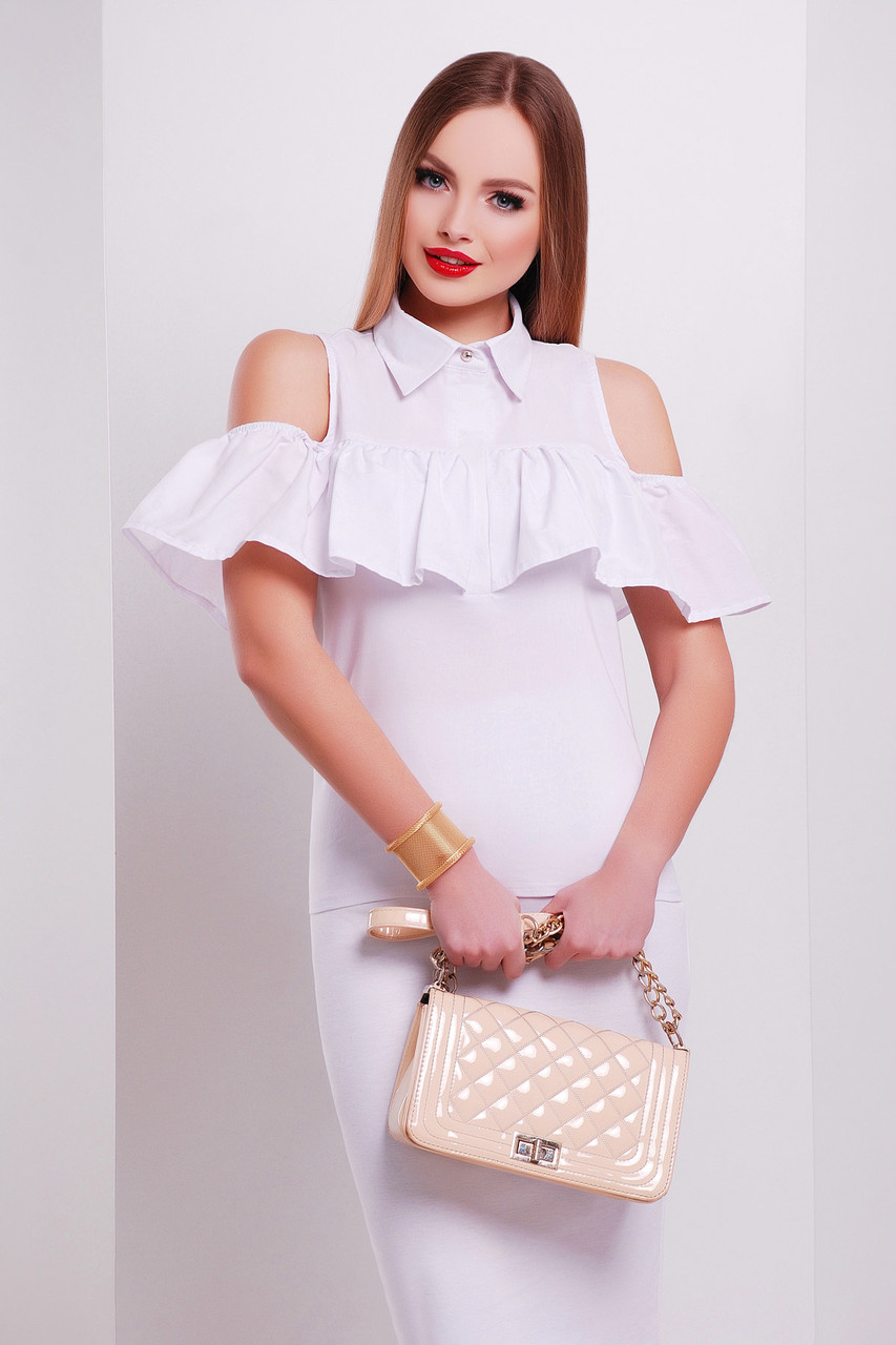 Блуза женская с открытыми плечами и воланом