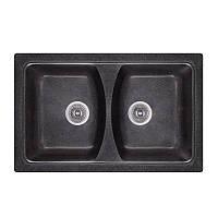 Кухонная гранитная мойка Fosto прямоугольная (790x500 мм), двухчашевая, цвет черный (FOS7950SGA420)