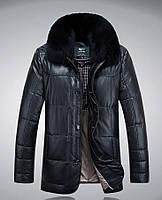 Мужская кожаная куртка-пуховик классика с мехом 3 цвета , фото 1