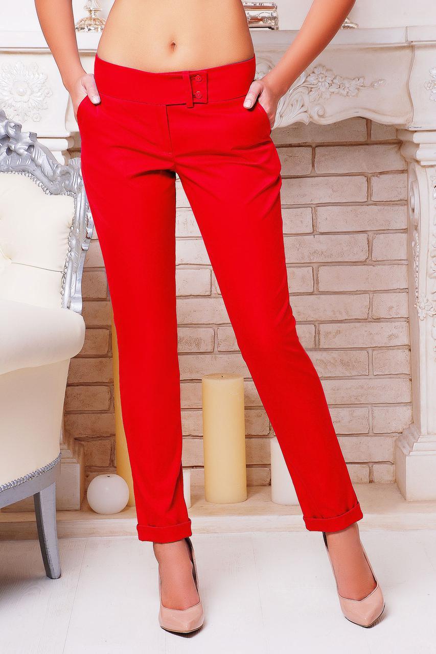 Брюки женские красные с заниженной посадкой костюмные