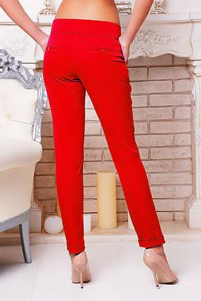 Брюки женские красные с заниженной посадкой костюмные , фото 2