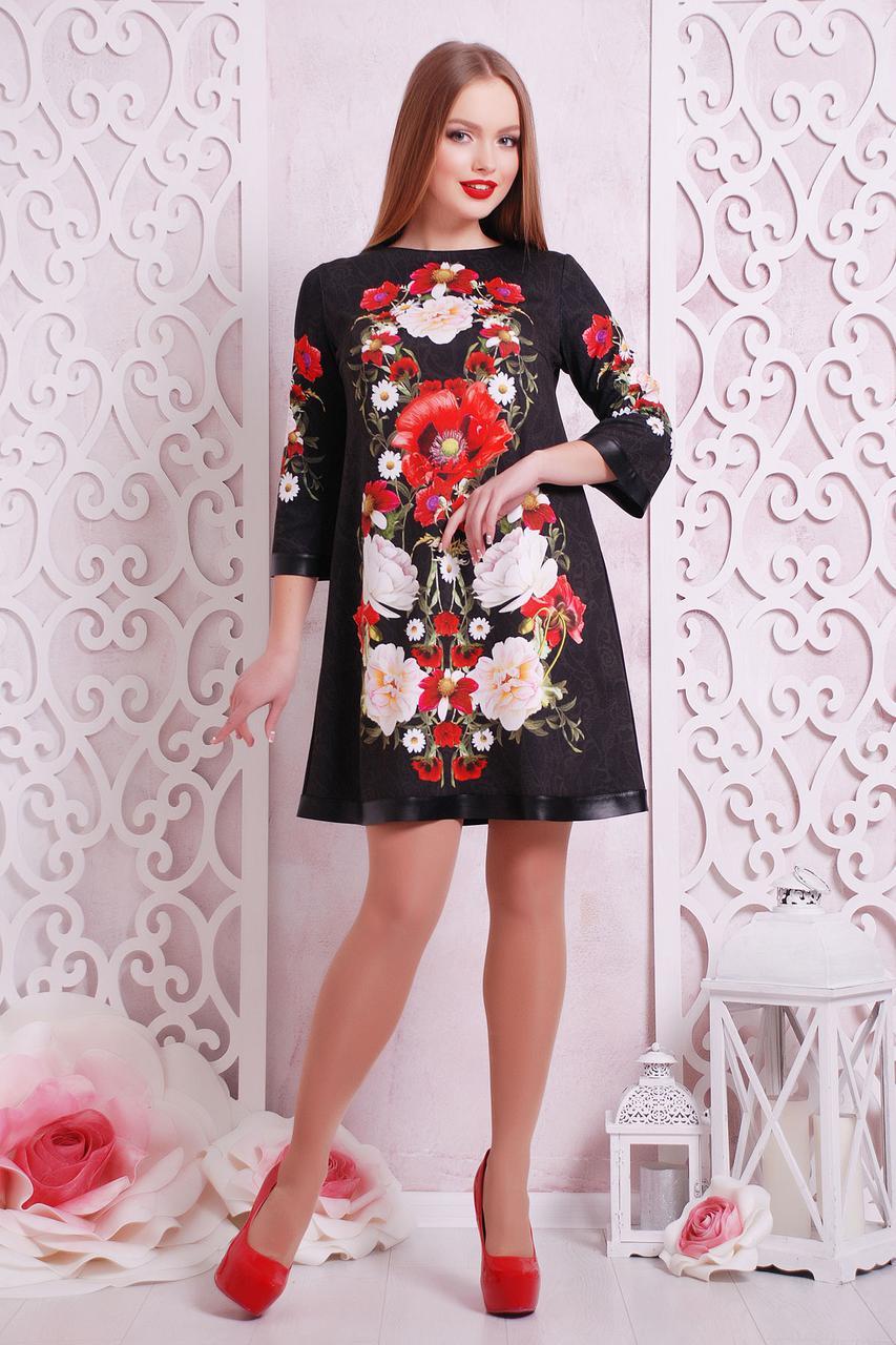 Платье женское черное с цветочным принтом