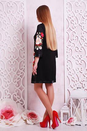 Платье женское черное с цветочным принтом , фото 2