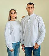Комплект вишиванок для пари (біла вишивка)