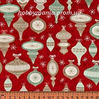 Ткань для пэчворка - Елочные игрушки, Красный, Новогодняя Ель, Новый Год и Рождество