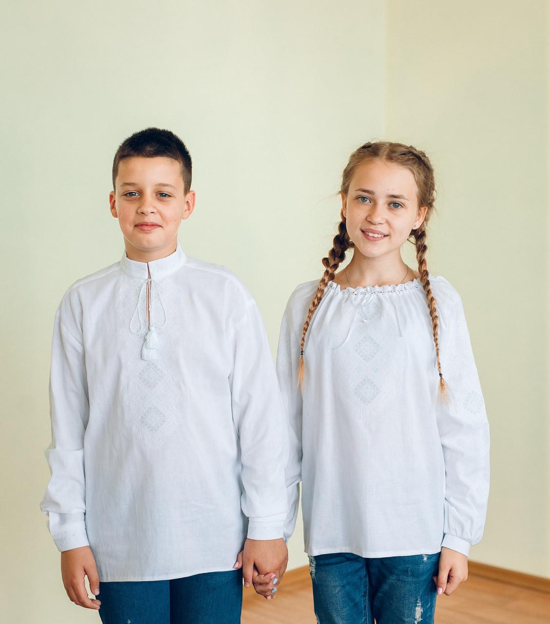 Комплект вишиванок для брата з сестрою (біла вишивка)  продажа 656311e2cedf1