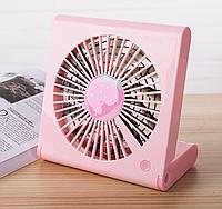 Портативный USB вентилятор аккумуляторный, розовый