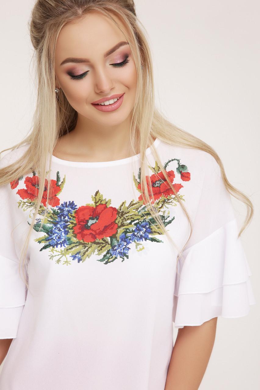 Блуза  женская с вышивкой маки