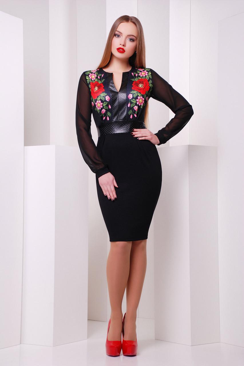 Платье женское черное с цветами маки рукав шифон
