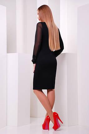 Платье женское черное с цветами маки рукав шифон, фото 2