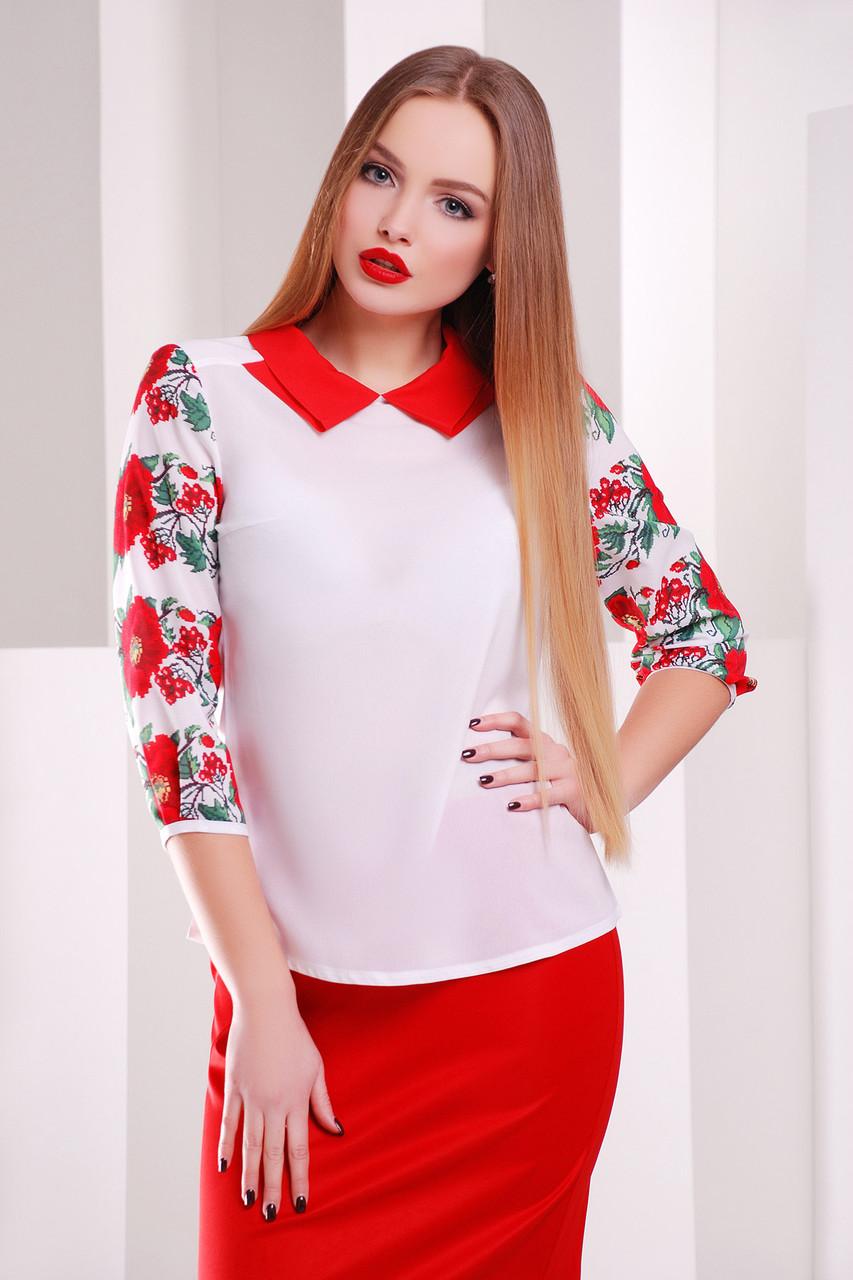 Блузка женская свободная белая  с ярким принтом маки