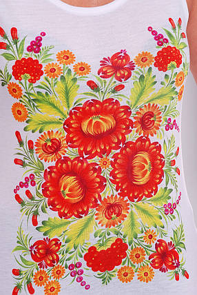 Майка женская белая с рисунком красные цветы, фото 2