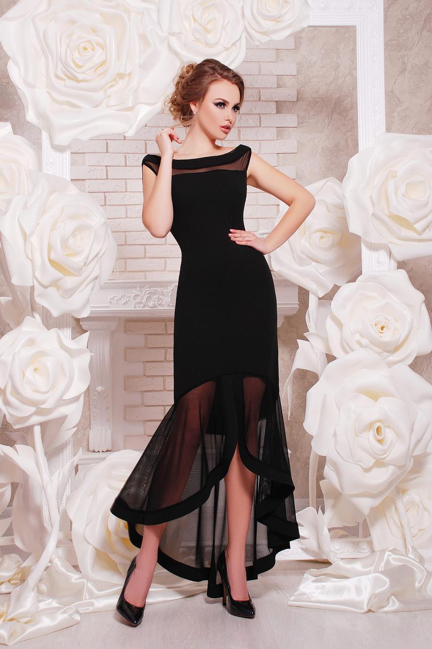 Платье женское в пол вечернее черное