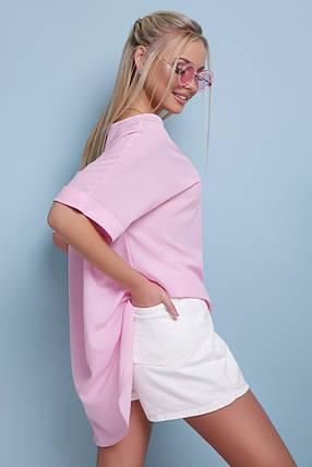 Туника  женская розовая длинная  шифоновая, фото 2