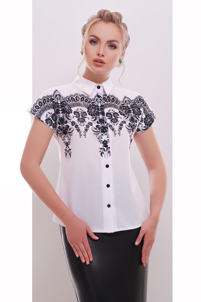 Блуза женская на короткий рукав с принтом