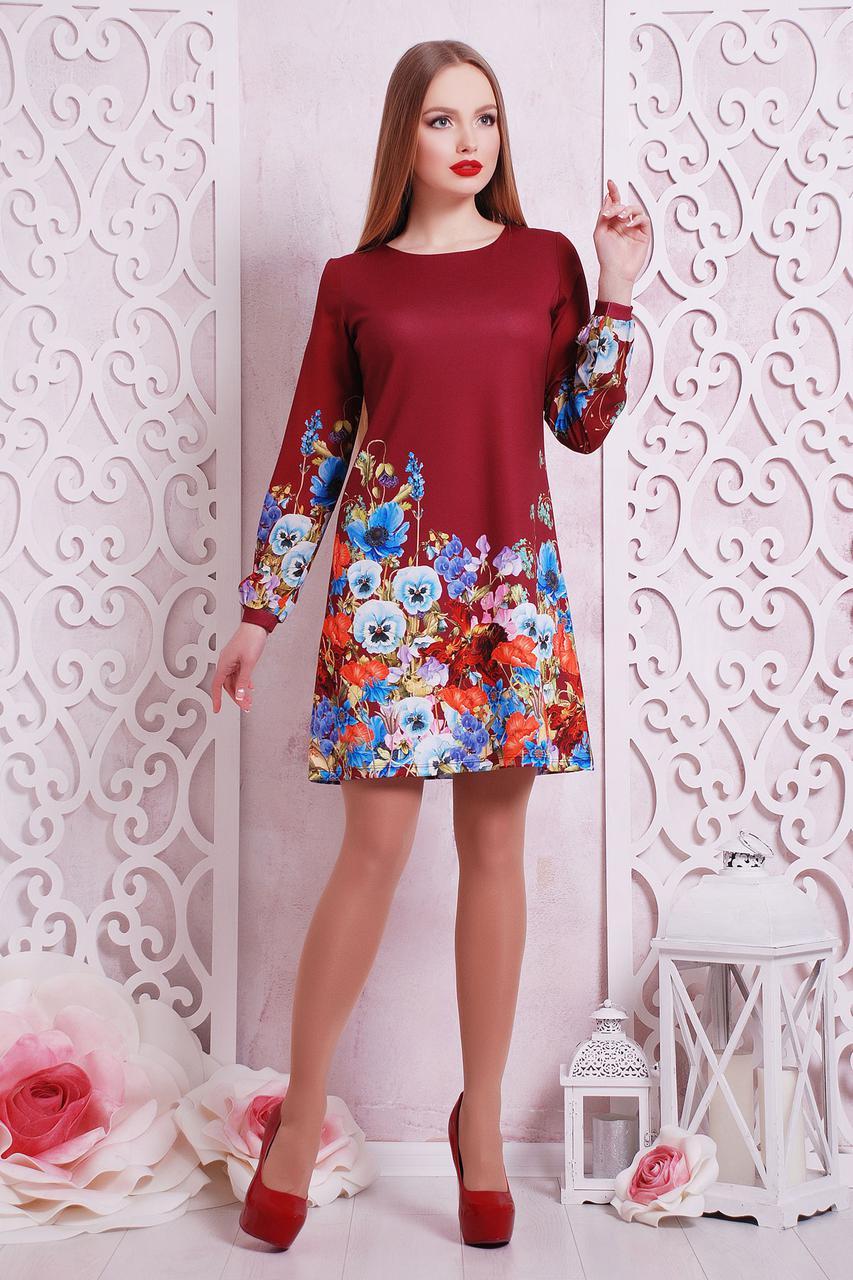 Платье женское красное с длинным рукавом цветочный принт