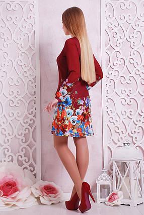 Платье женское красное с длинным рукавом цветочный принт , фото 2