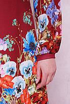Платье женское красное с длинным рукавом цветочный принт , фото 3
