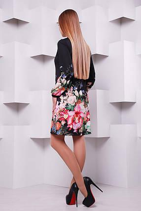 платье Тана-1Ф (креп) д/р GLEM Черный букет, фото 2