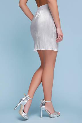 Юбка женская плиссе белая мини до колен серебристая на резинке, фото 2