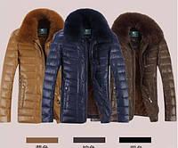 Мужская кожаная куртка-пуховик классика с мехом 3 цвета