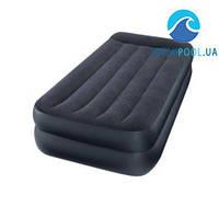 Односпальная надувная флокированная кровать Intex 66706 с подголовником, черная, со встроенным насосом 220V, 191 х 99 х 42 см