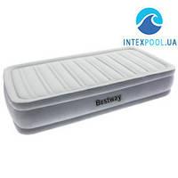 Надувная флокированная кровать Bestway 67488, со встроенным насосом 220 V, серея, 191 х  97 х 36 см