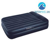Двухспальная надувная флокированная кровать BestWay 67345 с подголовником, черная, 203 х 152 х 46 см