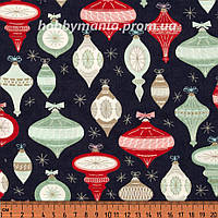 Ткань для пэчворка - Елочные игрушки, Темно-синий, Новогодняя Ель, Новый Год и Рождество