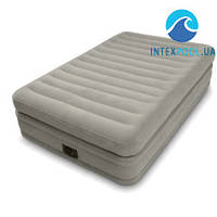 Односпальная надувная флокированная кровать Intex 64444,серая, со встроенным насосом 220V, 191 х 99 х 51 см