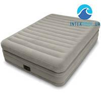Двухспальная надувная флокированная кровать Intex 64446, серея, со встроенным насосом 220V, 203 х 152 х 51 см