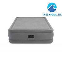 Двухспальная флокировання надувная кровать Intex 64470, серая, cо встроенным электрическимнасосом, 203 х 152 х 51 см