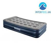 Односпальная надувная флокированная кровать BestWay 67598 серая, со встроенным насосом 220V, 191 х 97 х 43 см