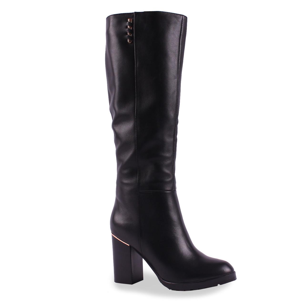 Черные кожаные сапоги (Дина Фабиани, зимние, на каблуке, на замке, черные, теплые, удобные)