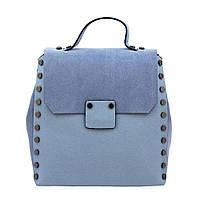 Рюкзак  женский городской кожаный NN RU-NN13173 голубой