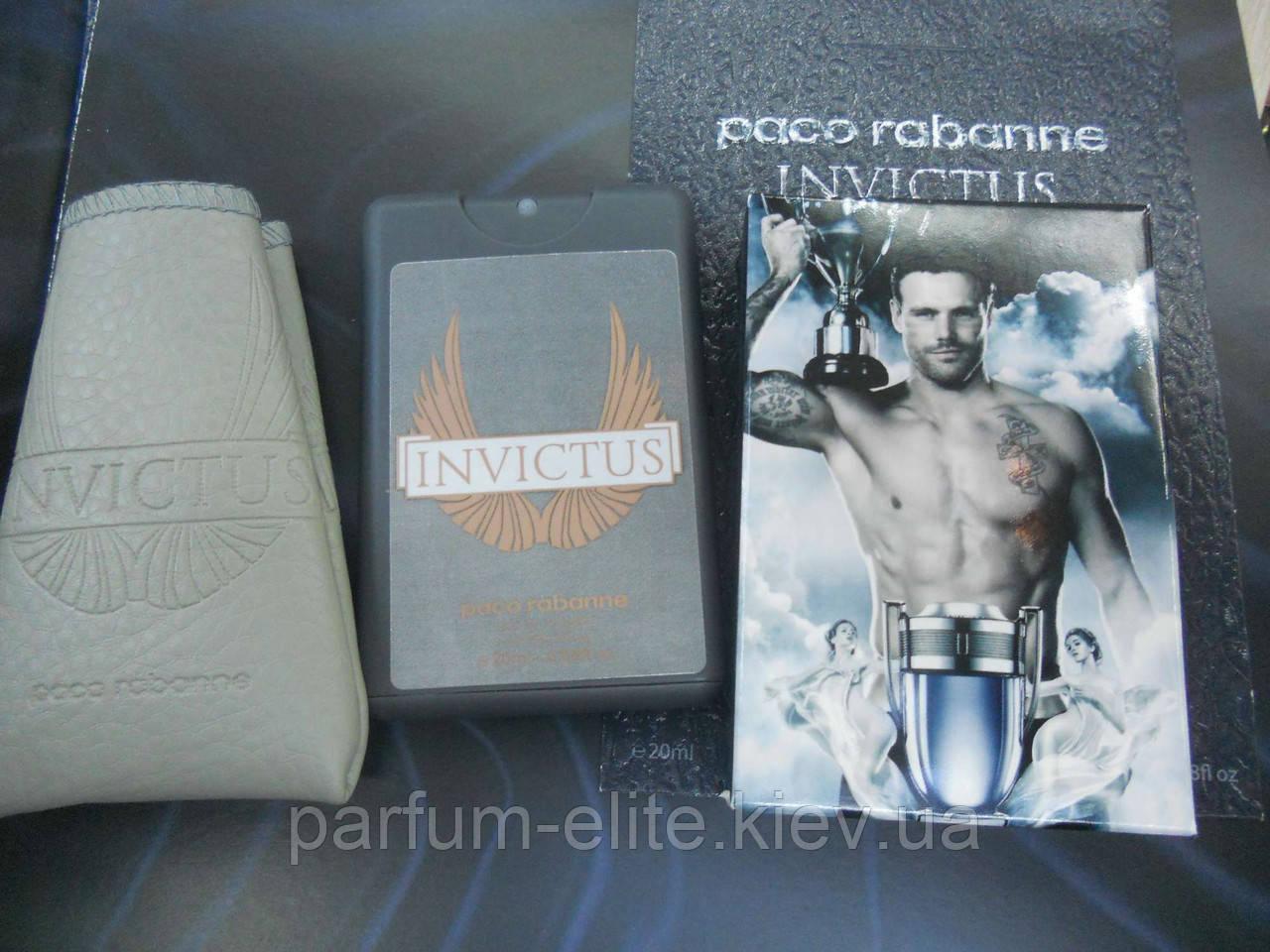 Мужской мини-парфюм в кожаном чехле Paco Rabanne Invictus 20ml