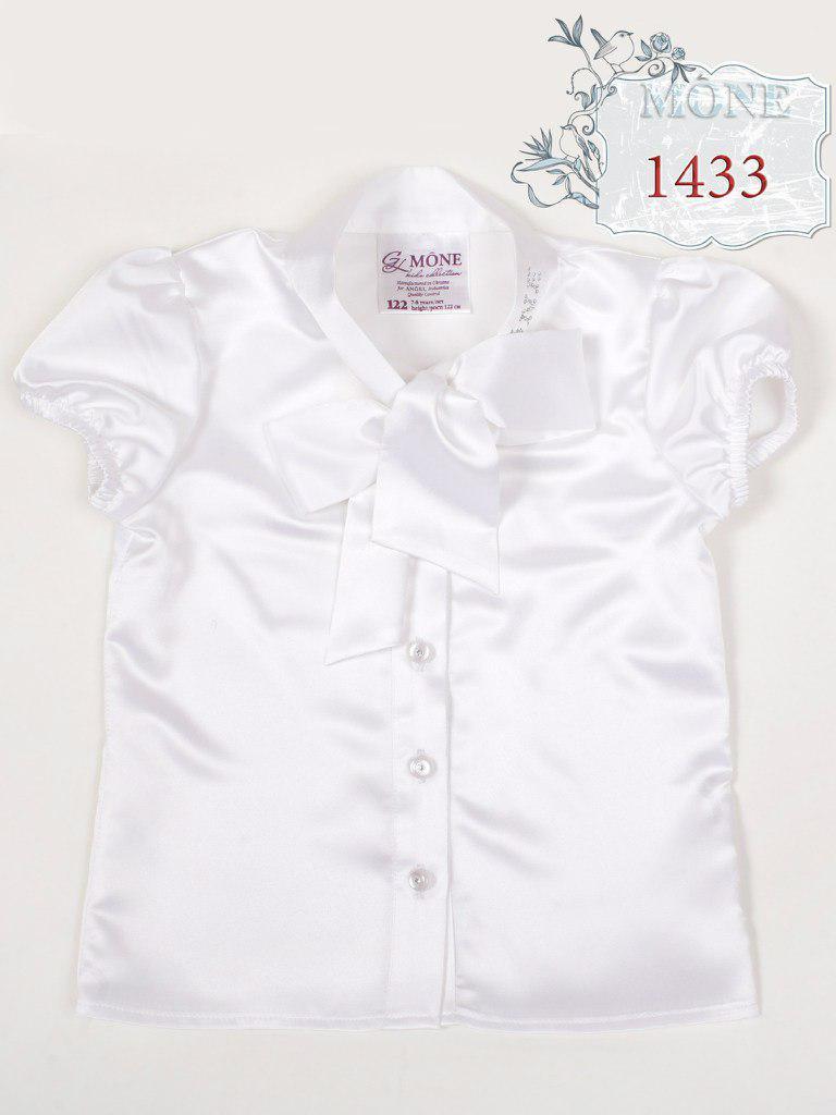 c1688c59a11 Белая атласная блузка для школы МОНЕ р-ры 122 - Интернет-магазин Мамины  Модняшки