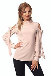 Стильная женская блуза пудрового цвета из крепа