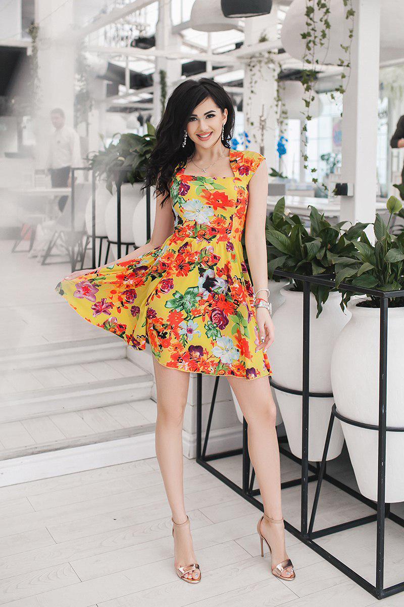 """Летнее платье штапель в цветочек """"Summer"""" с карманами и расклешенной юбкой (2 цвета)"""