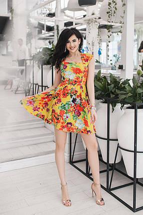 """Летнее платье штапель в цветочек """"Summer"""" с карманами и расклешенной юбкой (2 цвета), фото 2"""