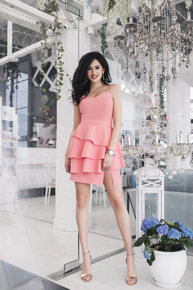 """Летнее коктейльное платье """"RAHEL"""" с воланами на юбке (3 цвета)"""