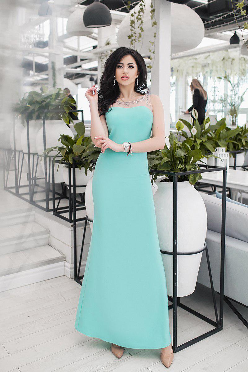 """Длинное нарядное платье без рукавов """"Богема"""" со стразами (3 цвета)"""