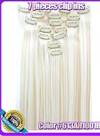 Комплект накладных прядей из 7-ми штук, наращивание волос, накладные пряди, прямые, цвет - 613АН1001В