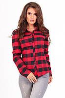 b05f9ee84cd Красная клетчатая облегающая женская рубашка из 100 % коттона. Арт-6901 85