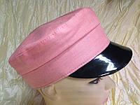 Розовая льняная женская кепка - картуз