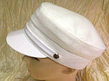 Женская льняная кепка - картуз цвет белый, фото 2