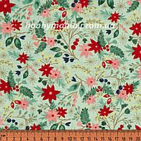 Ткань для пэчворка - Букетики из ягод и цветов, Светло-зеленый, Мята, Новогодняя Ель, Новый Год и Рождество