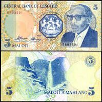 Лесото / Lesotho 5 maloti 1989 Pick 10 UNC